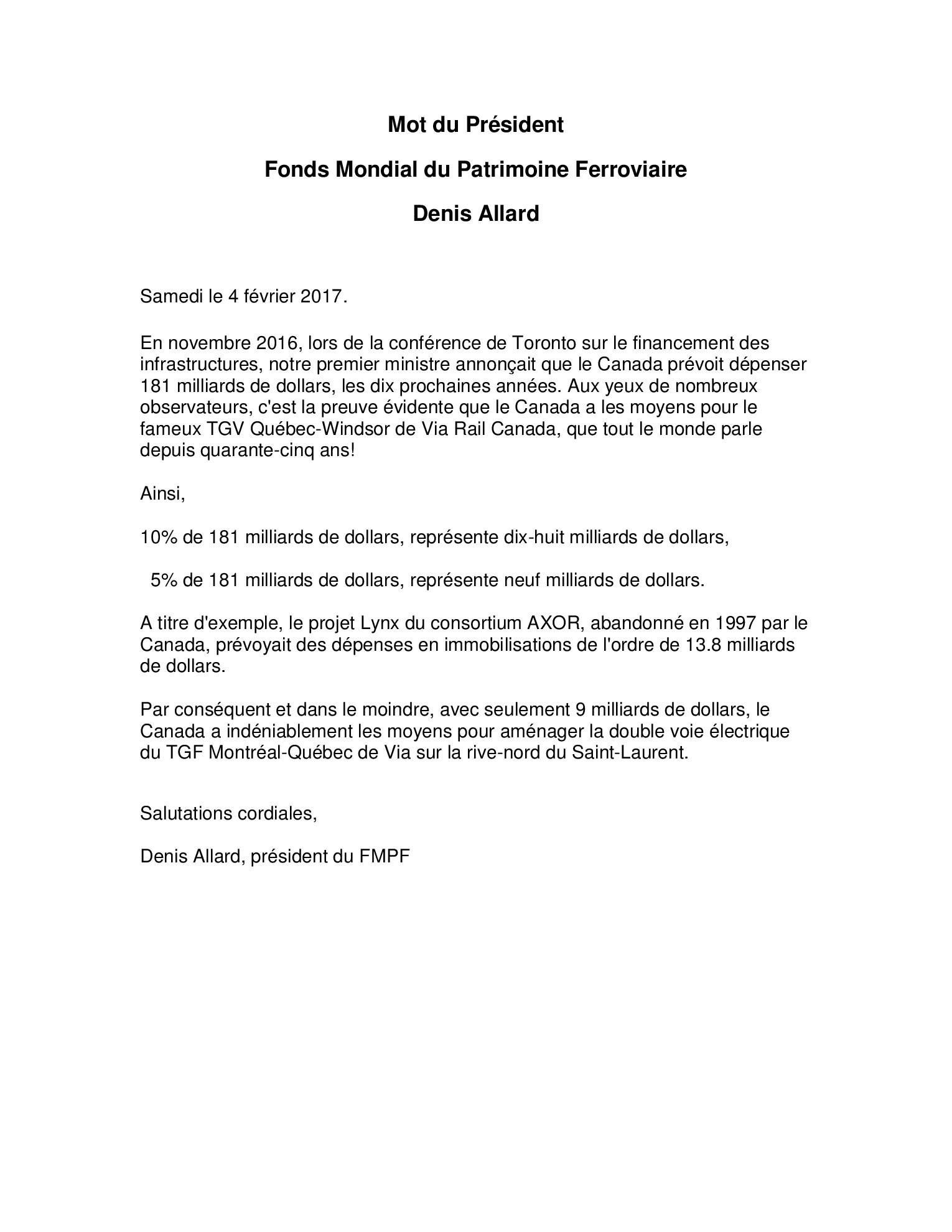 Mot de monsieur Denis Allard, Président du FMPF